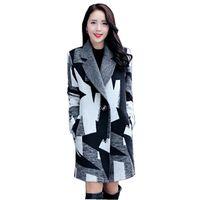 2017 Yeni Sonbahar/Kış Moda Kadın Yün ceket Ceketinizin yaka Bir düğme Orta uzun Coat Uzun kollu Gevşek Büyük metre Kat SJ1143
