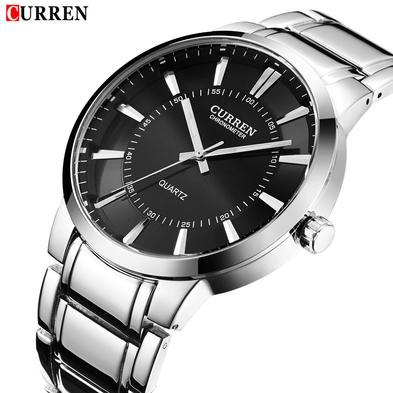 2018 Hot New Design Curren Fashion Men Sports Watches Men Full Steel Quartz Analog Military Style Watch Relogio Masculino
