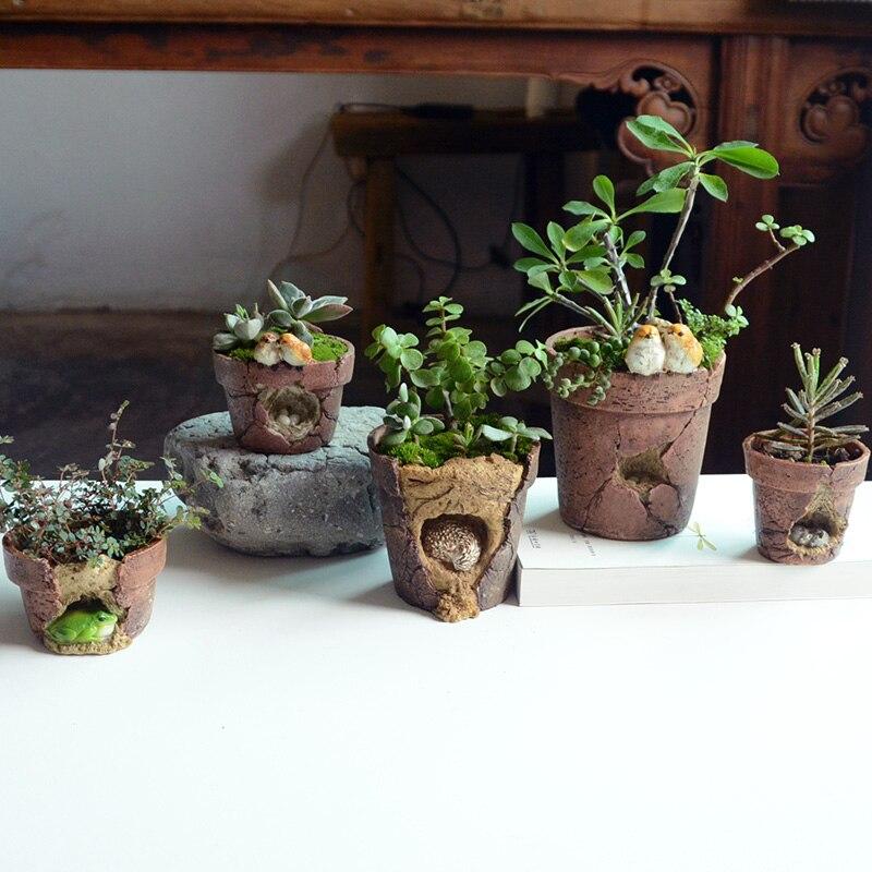 Little Bird Resin Flower Pots Planters Imitation of Coarse Pottery Peropon Succulent Garden Decor