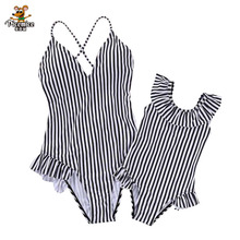 Summer Family Matching Swimwear Mother Daughter Striped Bikini Bathing Suit Outfits Kids Mom Swimsuit