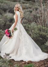 Novo vestido de baile renda tule modesto vestidos de casamento com mangas boné país querido ocidental vestidos de noiva modesto mangas compridas