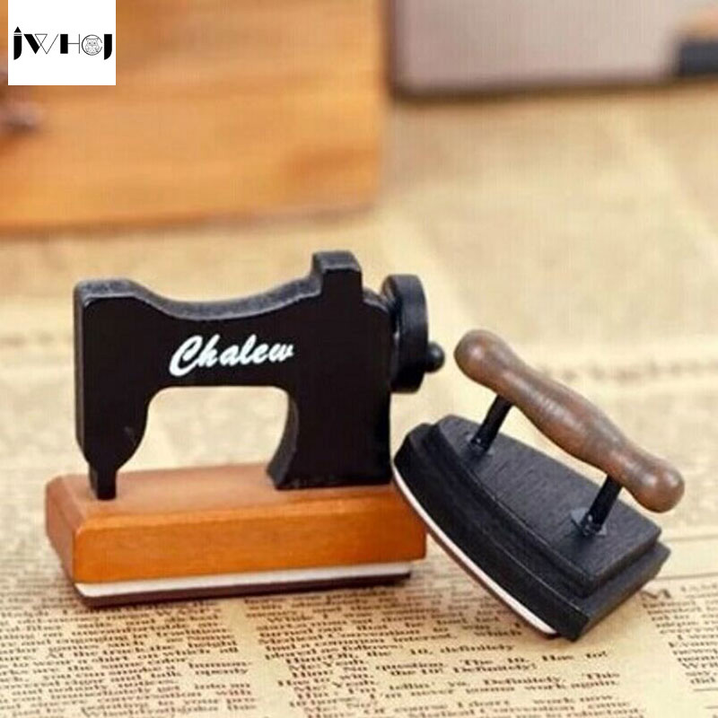 JWHCJ mini vintage sewing machine&iron wooden stamp diy Handmadedecal stamps for scrapbooking diy stamps Photo Album Craft gifts jwhcj vintage cat date wood roller stamps for children diy handmade scrapbook photo album diary book decoration students stamps