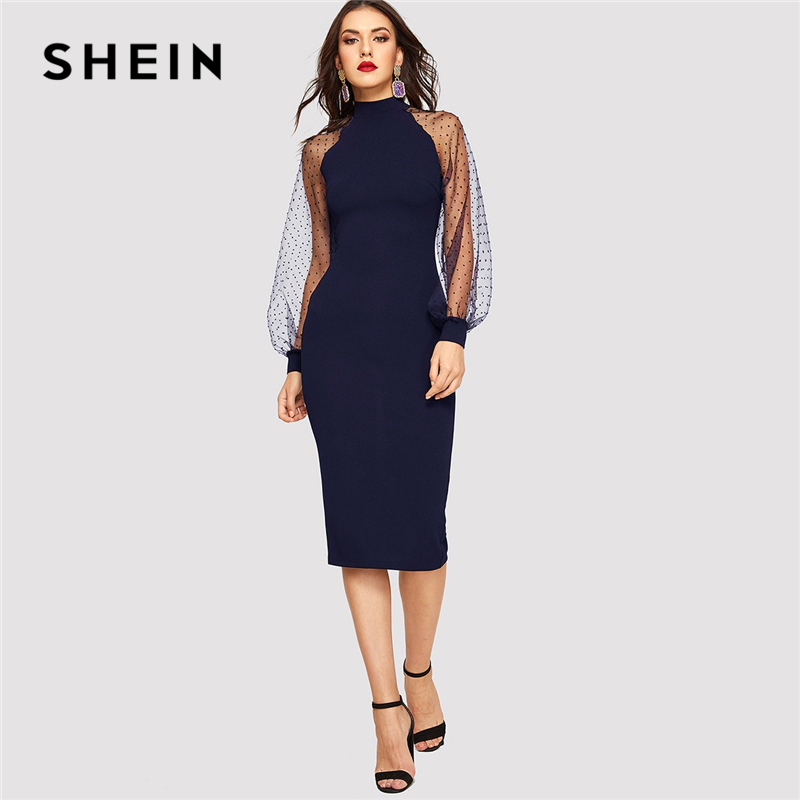 Image 3 - SHEIN Party Black or Blue Pencil Bodycon Dress With Jacquard Contrast Mesh Lantern Sleeve Spring Women Long Sleeve Solid Dresses-in Dresses from Women's Clothing