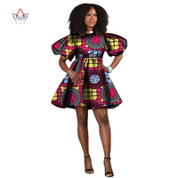 BRW 2017 Abiti Stampati Cera Africano per Le Donne Dashiki Estate Manicotto di Soffio Del vestito Sveglio Della Signora casual Abiti di moda per Le Donne WY467