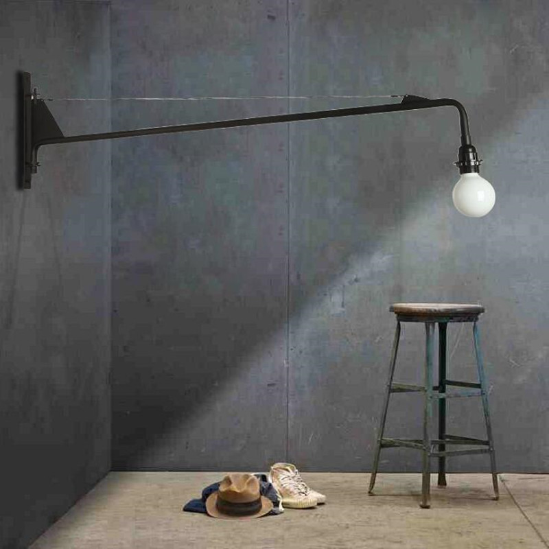Loft Jean Prouve Dining Room Wall Lamp Retro Long Arm Lights Industrial  Bar/ Cafe / Designer Light With Led Bulbs-in LED Indoor Wall Lamps from Lights & Lighting
