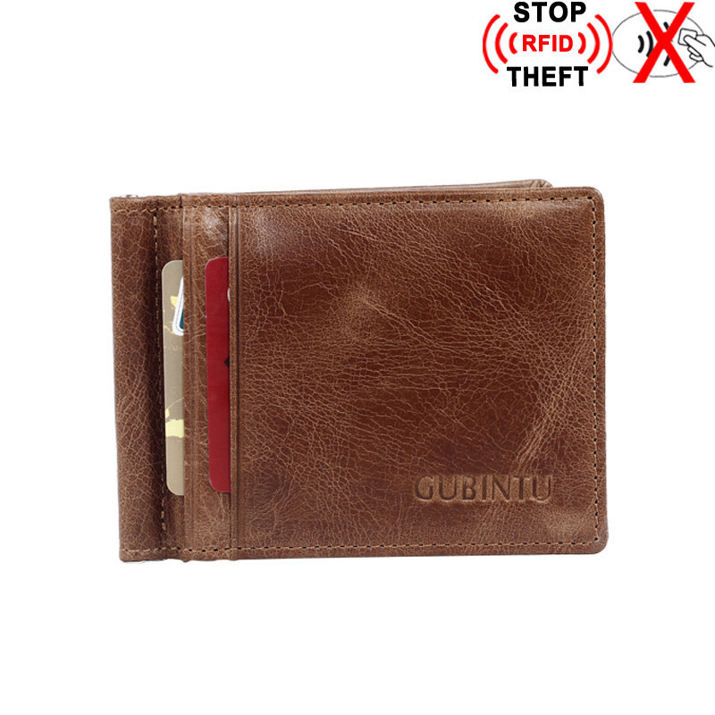 RFID Blocking Bifold Men Small Wallet Slim Genuine Leather Thin Minimalist Front Pocket Wallets for Men Money Clip maibomengnuo authentic crocodile skin wallet belly belly fashionable contracted men thin money clip upright money