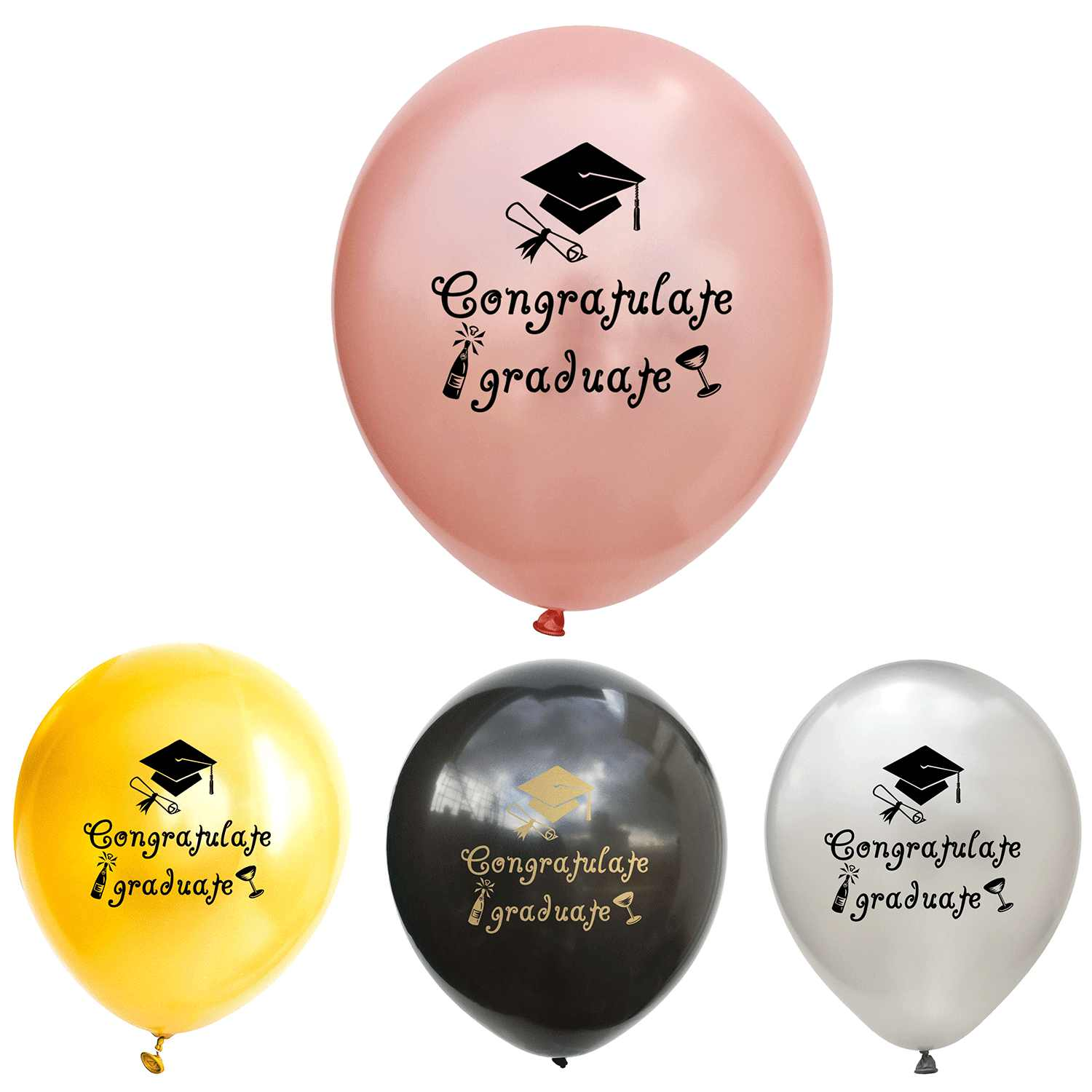 15/9pcs Congratulate Graduate Painted Latex Balloons Rose Gold Confetti Balloons Graduation Students Party Decorations Supplies