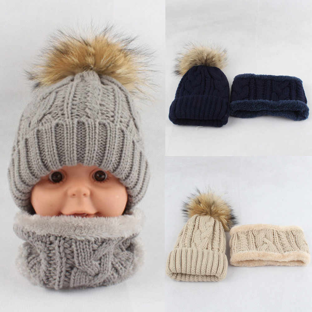Hot Baby Winter Warm Toddler Knitted Beanie Hair ball Kids Girls Boys Hat  Cap+Scarf 9bc63819c6a0