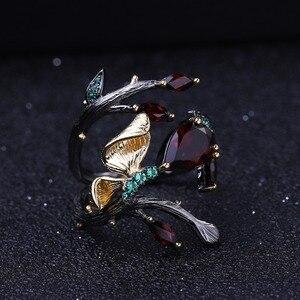 Image 3 - GEMS balet 925 srebro oryginalny Handmade motyl na gałęzi pierścień 2.37Ct naturalny czerwony granat pierścienie dla kobiet Bijoux