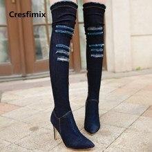 Cresfimix confortável outono & inverno da forma das mulheres denim botas de salto alto senhora casual rua botas cool black & azul bota c2845