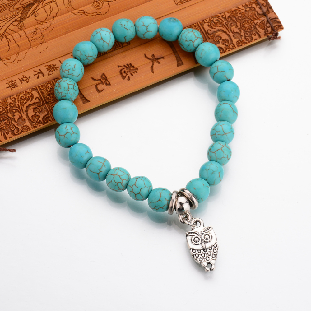 Aliexpress : Buy 2017 Summer New Fashion Jewelry Antique Silver Animal  Owl Head Bracelet Men Women Beaded Blue Marble Stone Bracelets Pluseras  From