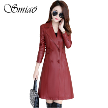 2019 New Fashion Women PU Leather Jackets High Quality Soft Faux Coats Slim Long Trench Plus Size 5XL