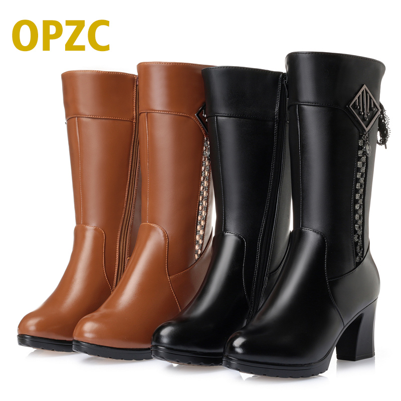 2018 Winter Genuine Leather Women's Boots, Waterproof Tops High-heeled Boots, High Boots Woolen Motorcycle Boots Free Shipping 2016women s genuine leather boots high heeled winter boots designer wool lining motorcycle boots thick snowshoe free shipping