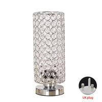 Bedside Silver Desk Lamp Nightstand Bedroom Lampshade Night Light