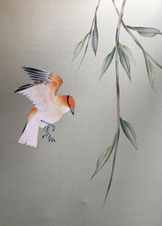 Классический стиль Элегантный Ручная роспись шелковые обои картина ива дерево с птицами обои много искусства/фон опционально - 6