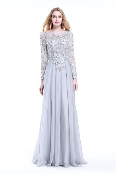 Cheap Modest Bling Bling Bodice Chiffon Prom Dresses Gown with Long ...