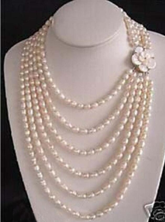 Hot!!! Luxury 6 rows white freshwater pearl shell flower clasp bridals necklaceHot!!! Luxury 6 rows white freshwater pearl shell flower clasp bridals necklace