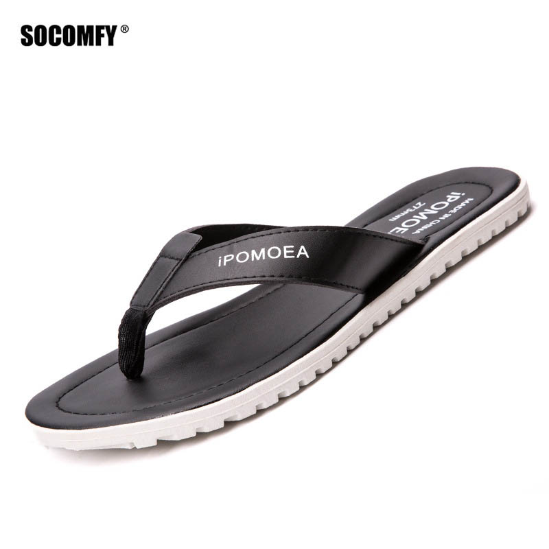 SOCOMFY Summer Men Flip Flops Male Color Slippers Men Casual PVC Shoes Summer Fashion Beach Sandals стоимость