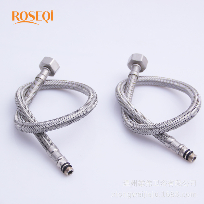 1 Pair Bathroom Flexible Cold/Hot Mixer Faucet Stainless Steel ...