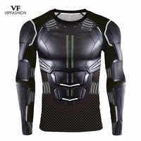Vip moda 2019 novo 3d impresso curto t batman compressão manga longa liga da justiça dc super herói fitness ginásio t-shirts