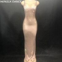 Для женщин сексуальная сцена кожи Цвет длинное платье без рукавов полный сверкающими кристаллами для ночного клуба вечерние банкетные эта