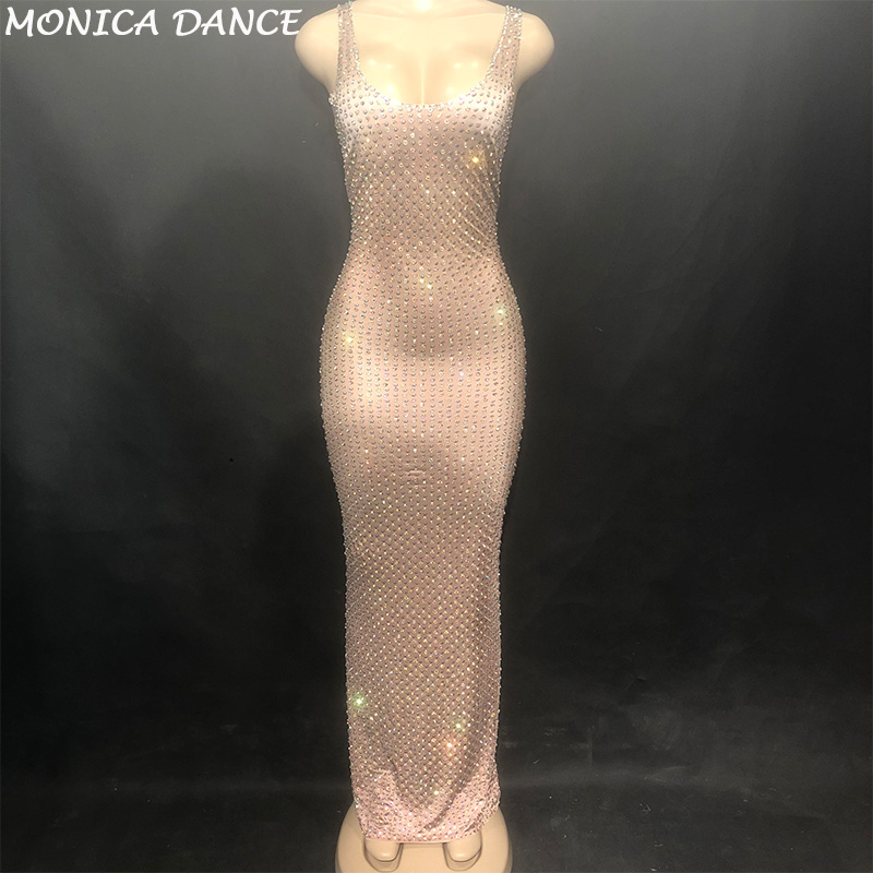 Women Sexy Stage Skin Color Long Dress Sleeveless Full Of Sparkling Crystals Nightclub Party Banquet Stage Wear Costumes