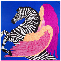 130cm 130cm 100 Pure Silk Euro Brand Style Women Zebra Horse And Wings Feather Silk Square