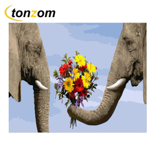 RIHE Elephant Couple Drawing By Numbers DIY Animal Flower Painting Handwork On Canvas Oil Art Coloring For Home 2018