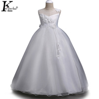 KEAIYOUHUO Girls Dress Lace Flower Long Wedding Dress Princess Christmas Costume For Kids White Party Dresses For Girls Clothes