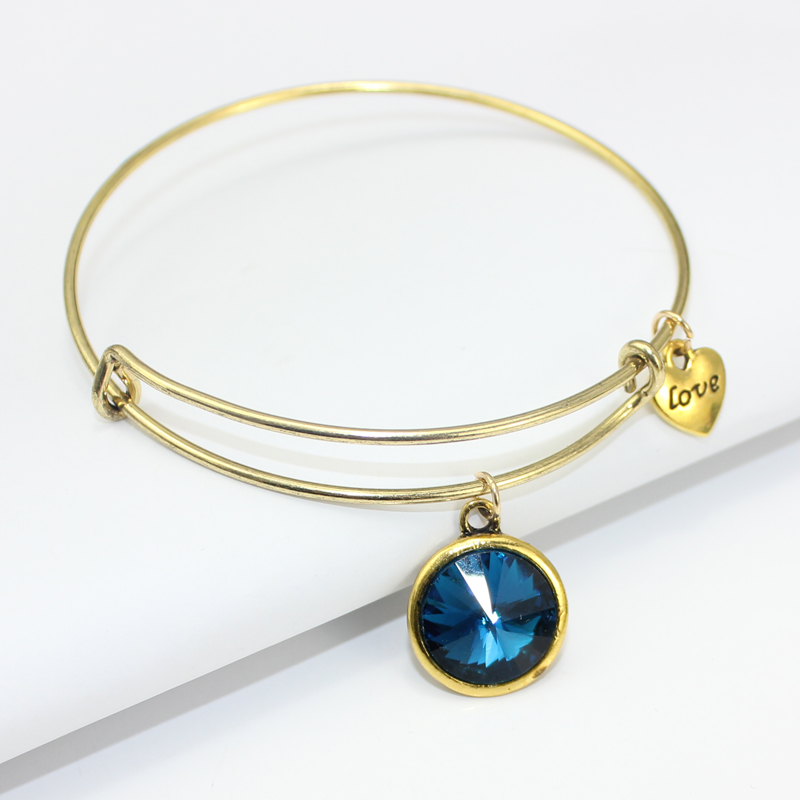 Mode 12 Birthstone Charm Armband Verstellbare Gold Expandable Wire - Modeschmuck - Foto 2