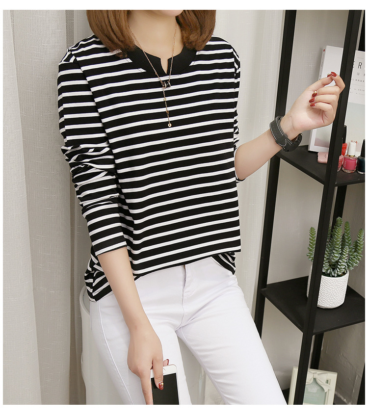 NFIVE Brand 2017 Women's Stripe Loose T-shirts Korean Autumn New Long Sleeved Large Size Shirt Quality Fashion Cotton T-shirt 14