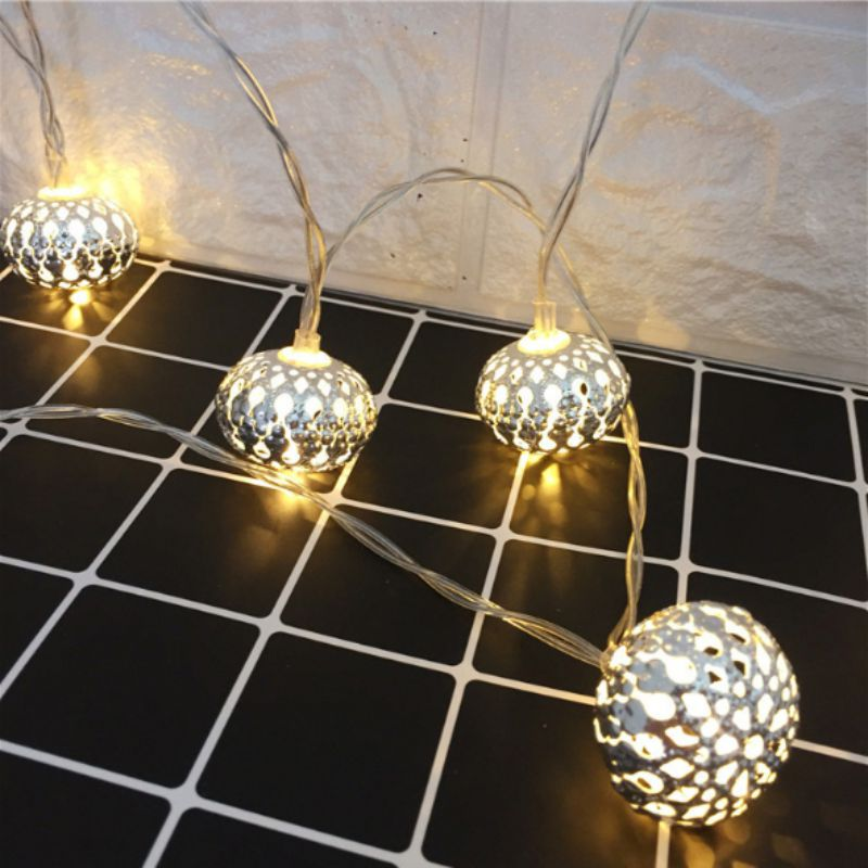 Light String LED Wrought Iron Diamond Battery Box Home Indoor Holiday Wedding Decoration Lantern