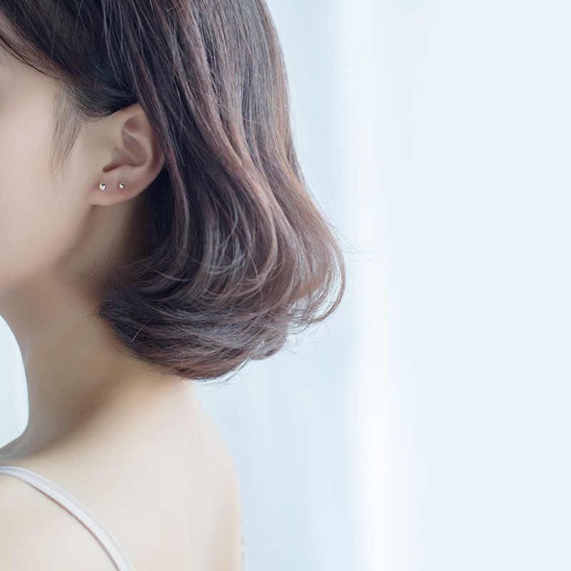 Dreamysky 100% Настоящее чистое 925 пробы сережки в виде серебряных шариков для Для женщин S925 бисер шпилька серьга стерлингового серебра-ювелирные изделия