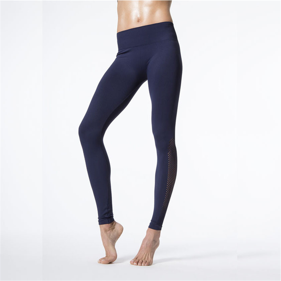 c8db73a0d2c1a Oyoo Mesh Fitness Yoga Pants Women Sexy Navy Blue Sport Leggings High Waist  Elastic Running Pants Workout Trousers Solid Tights-in Yoga Pants from  Sports ...