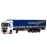 Alloy Diecast Flat Tent Platform Transporter Model 1:50 10 Rubber Wheels Flexible and Movable Semi Trailer Vehicle Hobby Toys