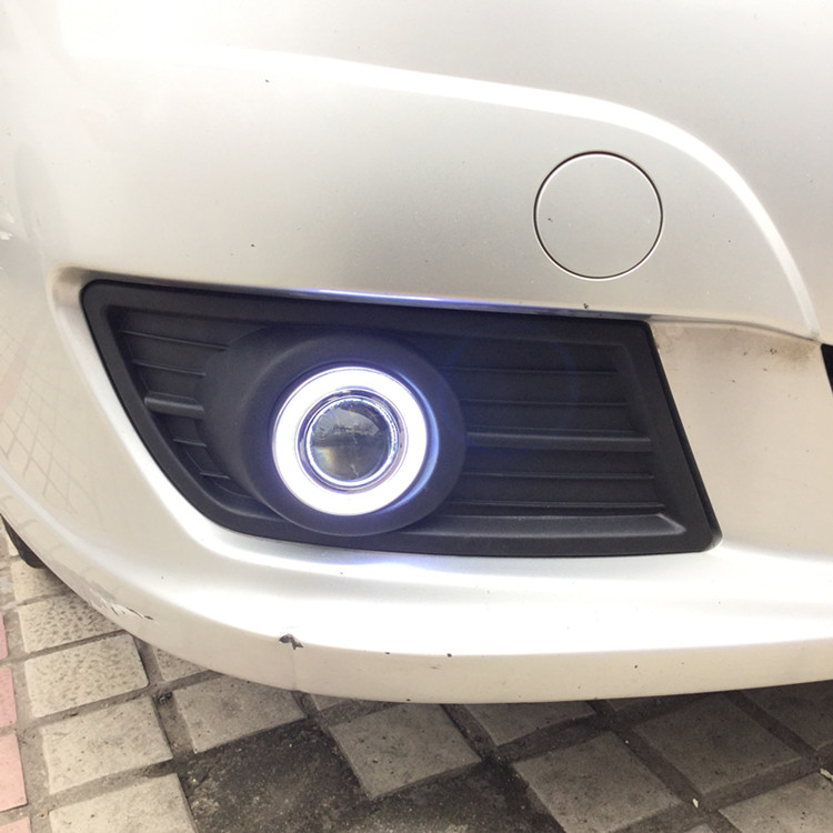 eOsuns COB angel eye led daytime running light DRL + halo Fog Light + Projector Lens + fog lamp cover for Mazda Happin 2011-12 eosuns cob angel eye led daytime running light drl fog light projector lens fog lamp cover for audi q5 2009 13 2pcs