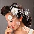 Frete grátis branco elegante Hand Made flor frisada de cristal nupcial cabelo acessórios do casamento véu nupcial fascinador chapéus FW20