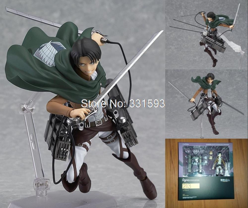 Toys Attack on Titan Shingeki no Kyojin Rivaille Figma 213 Boxed s Toys CollectionPVC Action Figure Models 6 14CM attack on titan shingeki no kyojin acrylic keychain action figure pendant car key accessories key ring jjjr006 ltx1