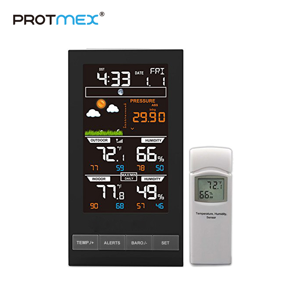 PROTMEX PT2800U Weather Station Temperature Humidity Wireless Colorful LCD Display With Barometer Weather Forecast