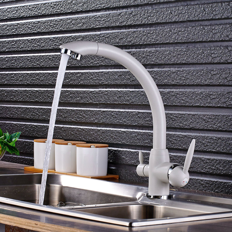 Deck Mounted 360 Rotation Kitchen Faucets White Water Purification Double Handle 3 Way Filter Mixer Taps-in Kitchen Faucets from Home Improvement    3