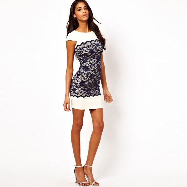 Женщины Кружева Лоскутная Мини Dress Коротким Рукавом О Шеи Вечеринок Тонкий Bodycon Vestidos Femininos Элегантный Лето Dress