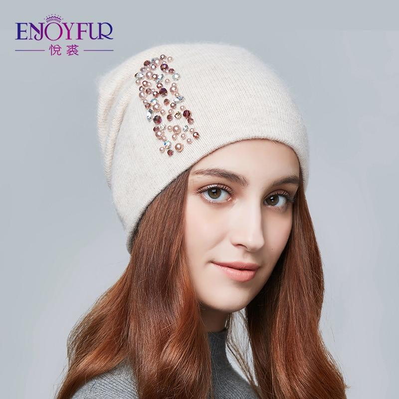 ENJOYFUR sombreros de invierno para las mujeres de punto de lana caliente sombreros de señora de moda de diamantes de imitación sombrero tapa del cráneo