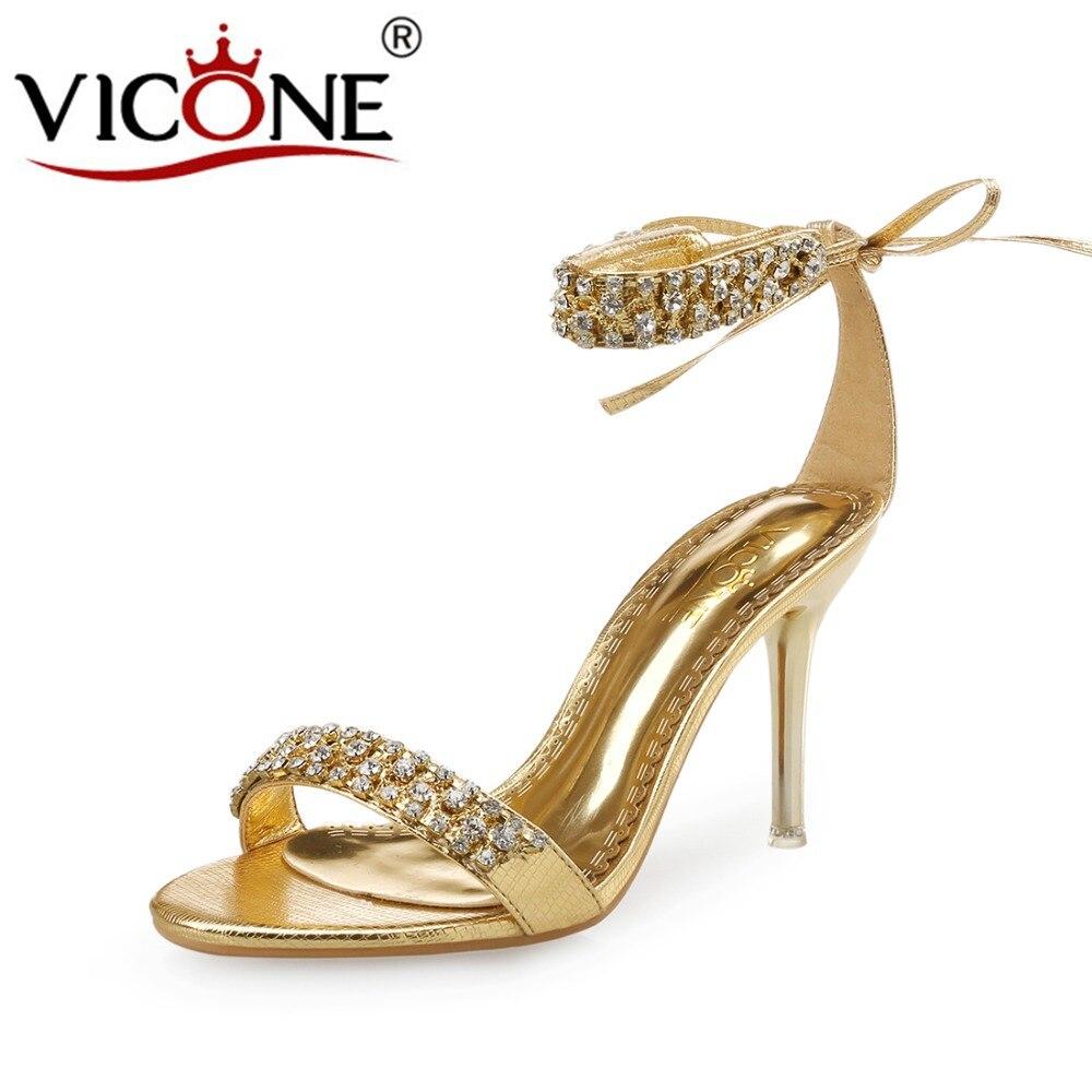 V10003 Cristallo Nero Donne argento Tacchi Il Sexy Wedding Vicone Party Di oro Summer H8qwpW0qT
