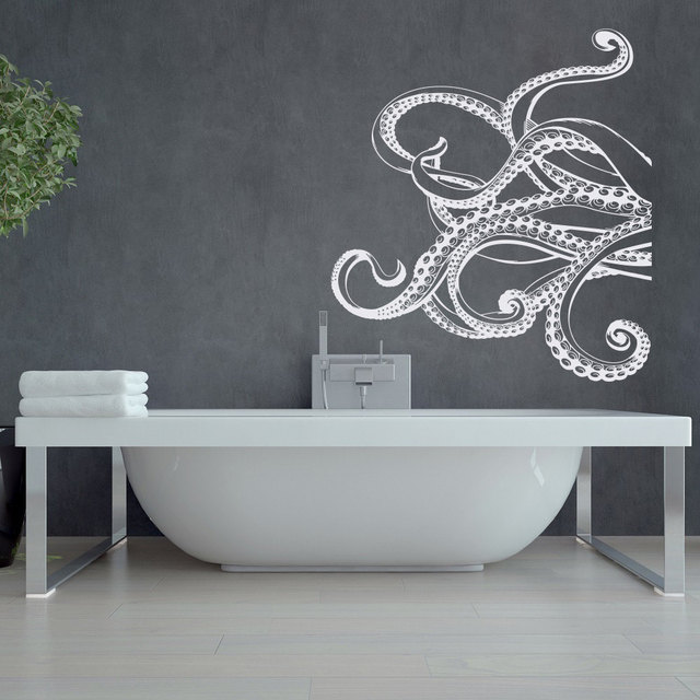 Octopus Tentacles Silhouette Wall Stickers Bathroom Living Room Wall Decal  Poster Murals Vinyl Sticker Home Decals