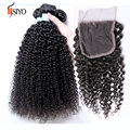 7A Virgin Peruvian Kinky Curly with Closure Modern Show Hair Peruvian Virgin Hair with Closure Peruvian 4 bundles and Closure
