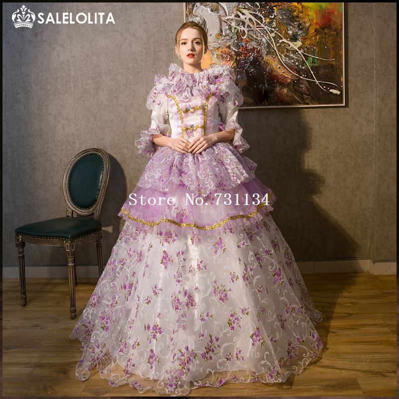 New Arrival Green And Purple Rococo Baroque Marie Antoinette Dresses 18th  Century Renaissance Historical Period Dress 5cf6dacaadc