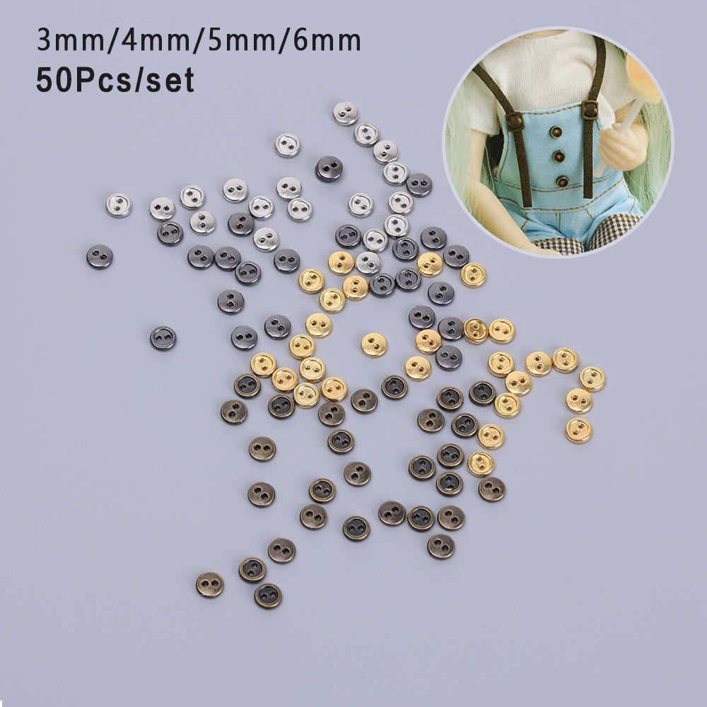 50Pcs/lot 3mm/4mm/5mm Handmade Mini Metal Buttons DIY Doll Clothing Sewing Round Buttons DIY Doll Clothes Accessories