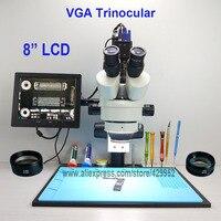 efix 2MP 3.5 90X 8 inch Soldering Trinocular Stereo Microscope Stand Lens VGA Digital Camera for Repair Mobile Phone Tools