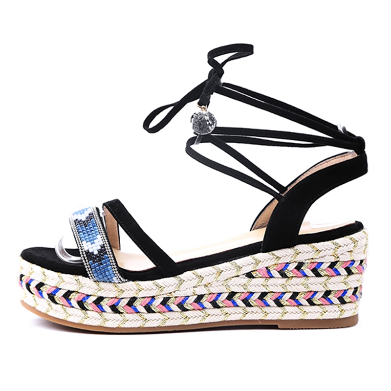 ENMAYLA Gladiator Casual Lace Up Woman Sandals 2019 Summer Wedges Shoes for Women Shoes Woman Sandals Size 34 39 LY1172 in High Heels from Shoes