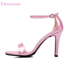 Merek Baru Fashion Wanita Hitam Merah Mengkilap Sandal Nude Pink Sexy Tinggi  tumit Sepatu Pesta Wanita KS113 Plus Ukuran Besar K.. cb5b7792db